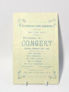 1905 Temperance Hall Castleton Paper Concert Programme Danby Choral Society #WP