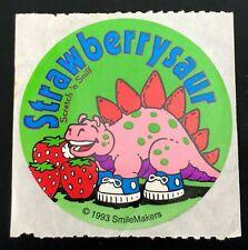 """Vintage Smilemakers Sticker """"Strawberrysaur"""" Matte Scratch-N-Sniff Strawberry"""