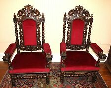 Exquisite French Antique Upholstered Louis XIII Pair Carved Arm Chairs