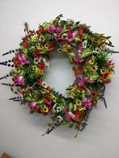 "Balsam Hill  Wildflower Meadow Wreath 22"" Natural Vine Frame Polyfoam New/Open"