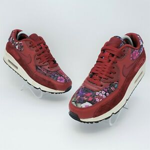Nike Air Max 90 SE Womens Maroon Floral Athletic Shoes Size US 9.5 881105-600