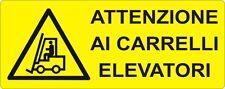 """2 TARGHETTE ADESIVE ISO 7010 """"CARRELLI ELEVATORI"""" SEGNALETICA SICUREZZA,PERICOLO"""