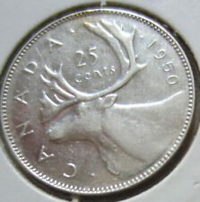 1950 Canada Silver Twenty-Five Cents Coin. AU NICE GRADE QUARTER (Q923)