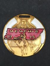 "1914 Masonic Temple Memphis Enamel Watch Fob or Medal 1 3/4"" Bastion Bros."