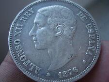 5 PESETAS 1876 (--*76) DEM, ALFONSO XII, VARIANTE OREJA RAYADA SILVER , SPAIN