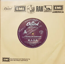 """W.A.S.P. – I Wanna Be Somebody  7"""" Vinyl 45 RPM Australian Promo Single Rare!"""