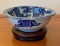 VINTAGE JAPANESE  BOWL PORCELAIN BLUE AND WHITE 7.5 INS DIAMETER