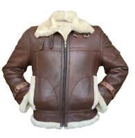 Men's Aviator RAF B3 Fur Shearling Leather Bomber Flying Jacket Coat