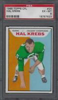 1965 Topps CFL Football Card #24 Hal Krebs Graded PSA 6