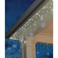 SALE!! 2 boxes dome Icicle Lights w Blue Snowflakes Christmas 140 LED Lights