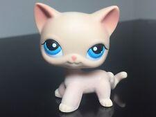 Littlest Pet Shop Cat #228 LPS Tan Cream White Stripe Short Hair Cat Blue Eyes