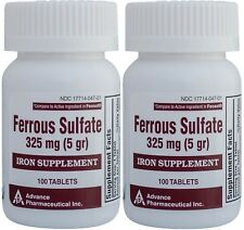 Ferrous Sulfate Iron 325 mg Generic for Feosol 100 Tablets per Bottle PACK of 2