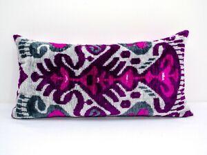 Pink Purple Silk Velvet ikat pillow cover Ethnic ikat Throw Pillow Lumbar ikat