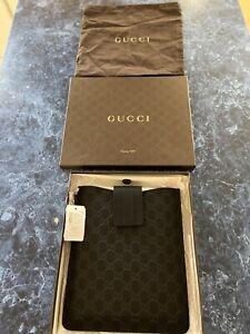 GUCCI Guccissima Micro Small GG Rubber/Leather iPad Case Black