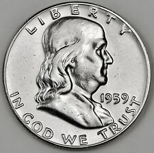 1959 Franklin Half Dollar. Type 2. Proof Die Used on Reverse. 3 Feather (Inv.A)