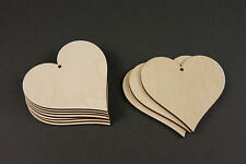 10 WOODEN Large Heart Unpainted Shapes Gift Tags Blank  80mm Craft Decoration