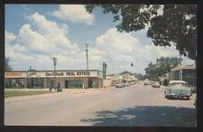 Postcard NEW PORT RICHEY Florida/FL West Main Street Business Storefronts 1950's