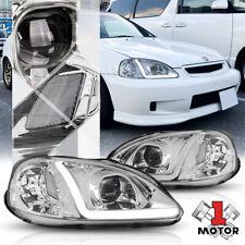 Chrome Projector Headlight Light LED BAR DRL Clear Signal for 99-00 Honda Civic