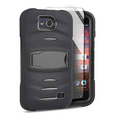 For ZTE Majesty Pro Z798BL Hard Gel RUGGED Rubber Kickstand Case Cover Black