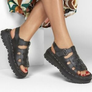 NEW Skechers Jammers Throwback Luxe Foam Black Leather Fisherman Sandal Womens 8