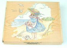 GIRL AT BEACH Rubber Stamp Stamps Happen Beach Sand Ocean Shells 80156