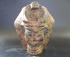 China Hongshan Culture Old  jade Hand-carved sun god head & snake Statue 2802g