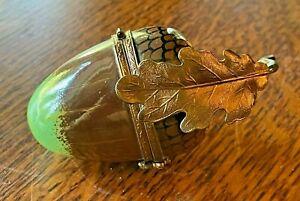 ACORN Limoges Porcelain Peint Main Figural Trinket Box Artist Signed Oak Leaf