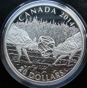 *HOT** $20 .999 Fine Silver Coin 2014 White Tailed Deer CANADA 1 OZ. A Challenge