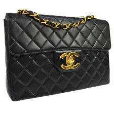 CHANEL Quilted Jumbo Double Chain Shoulder Bag 4567577 Black Leather AK38567d