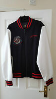 ED HARDY MEN JACKET LEATHER SLEEVES, RARE BLACK WHITE WINTER TOP SIZE XL