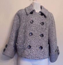 Jaeger UK12 EU40 US8 black-mix wool-blend jacket with 3/4 sleeves