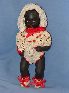 Little 8 Inch Composition or Paper Mache Black Toddler Doll