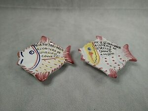 Pair of Deruta Pottery Spoon Rest Tea bag Holders