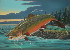 Brook Trout Print 11 x 14 by artist Doug Walpus Jumping with Fly Wall Decor