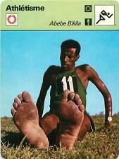 FICHE CARD:Abebe Bikila Ethiopia Marathon Long-distance running Athlétisme 1970s