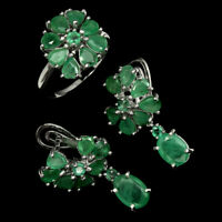 Unheated Green Emerald Oval Pear Natural 925 Sterling Silver Flower Ring Earring