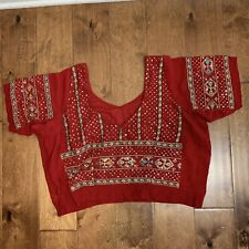Indian Georgette Hand Beaded Red Stitched Blouse Choli Saree Sari Top