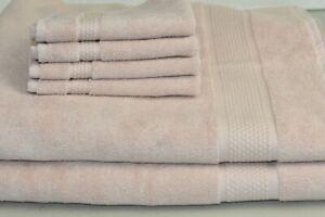 NEW Frette 6PC TOWEL SET Elisa Border 2 Bath Sheet + 4 Washcloth Blush Pink SOFT