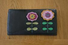 Golunski GRAFFITI Very Soft Black With Flower Pattern Leather Purse