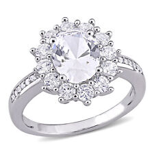 Amour Sterling Silver Created White Sapphire & Diamond Floral Engagement Ring