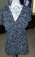 DRESSBARN Collection black and silver XL party blouse top shirt Pretty!