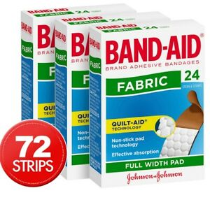 72x Band Aid Adhesive Cut Fabric Strips Wound Care Cover Flexible Plaster Full