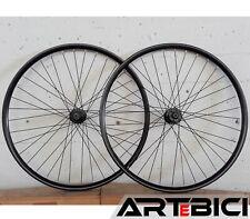 """Ruote bici MTB 29"""" disco 6 fori NERE Cerchi completi di raggi mozzi bloccaggi QR"""