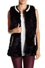 New Betsey Johnson Faux Pearl / Mink Fur Long Vest M/L Topper NWT BLACK White