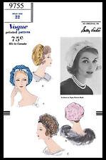 60s VOGUE 9755 Designer SALLY VICTOR Vintage BERETTA HAT Fabric Sewing Pattern