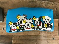 New Marc Tetro Blue Dog Group with Flowers Zip Pouch Bag Great condition.