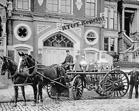 Photograph Vintage California Fire Engine / Fire House Year 1894 8x10