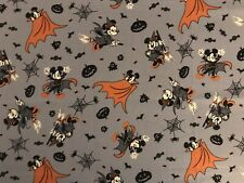 "Halloween Mickey & Minnie On Gray Fabric For Making Masks, Etc. New 18"" X 21"""