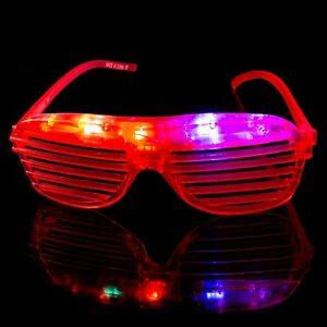 Red Flashing LED Shutter Glasses Light Up Rave Slotted Party Glow Shades Fun UK