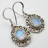 "925 Solid Silver Rainbow Moonstone Dangle Earrings 1.3"" Gemstone Jewelry"